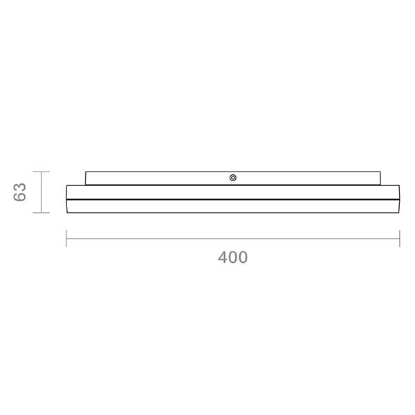 Aufbauleuchte SQUARE 400mm silber 38W 3000K IP20 110° 2600lm Ra80