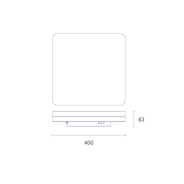 Aufbauleuchte SQUARE 400mm silber 38W 4000K IP20 110° 2800lm Ra80