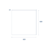 Vorschau: Panel Einbau FLED 620x620mm weiss UGR<19 40W 3000K IP20 120° 3200lm Ra80