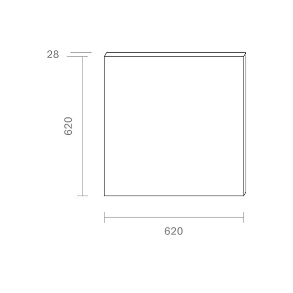 Panel Aufbau FLED 620x620mm weiss UGR<22 36W 3000K IP20 120° 3600lm Ra80