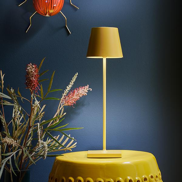 Akku-Tischleuchte NUINDIE 380mm gelb rund 2,2W 2700K IP54 180lm Ra85 dim