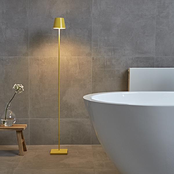 Akku-Stehleuchte NUINDIE 1200mm gelb rund 2,2W 2700K IP54 180lm Ra85 dim