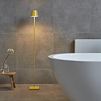 Vorschau: Akku-Stehleuchte NUINDIE 1200mm gelb rund 2,2W 2700K IP54 180lm Ra85 dim
