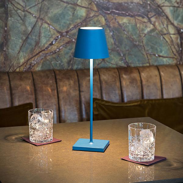 Akku-Tischleuchte NUINDIE 380mm blau rund 2,2W 2700K IP54 180lm Ra85 dim