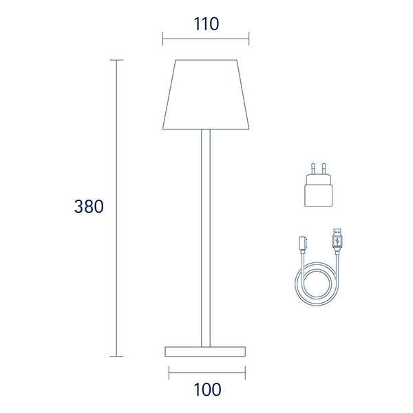 Akku-Tischleuchte NUINDIE 380mm gold rund 2,2W 2700K IP54 180lm Ra85 dim