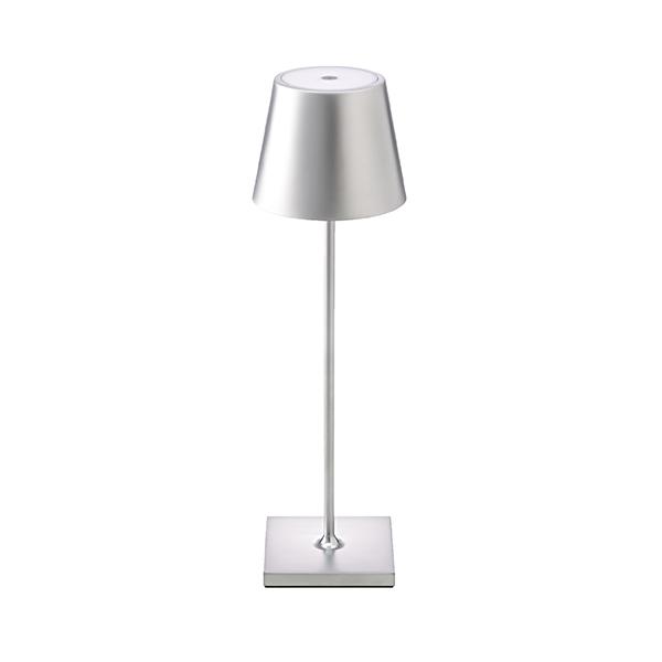 Akku-Tischleuchte NUINDIE 380mm silber rund 2,2W 2700K IP54 180lm Ra85 dim