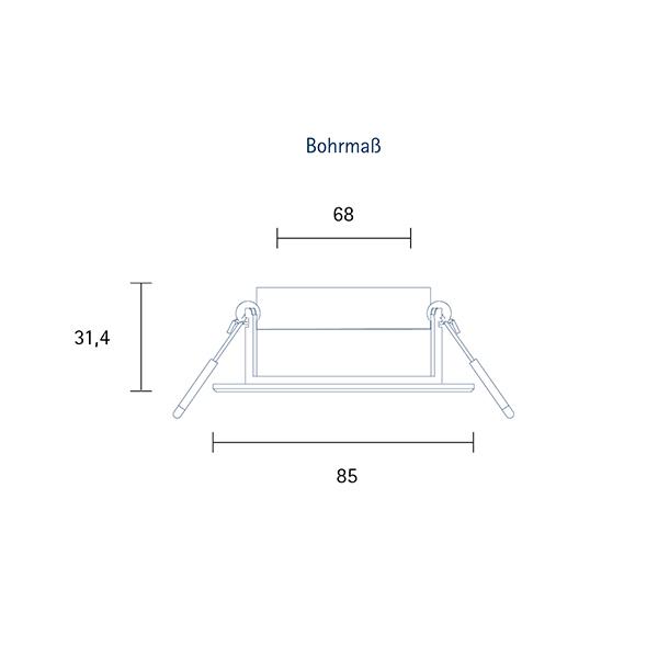 Einbauleuchte HALED 85mm nickel 6W 3000K IP20 36° 400lm Ra90 dim schwenkbar