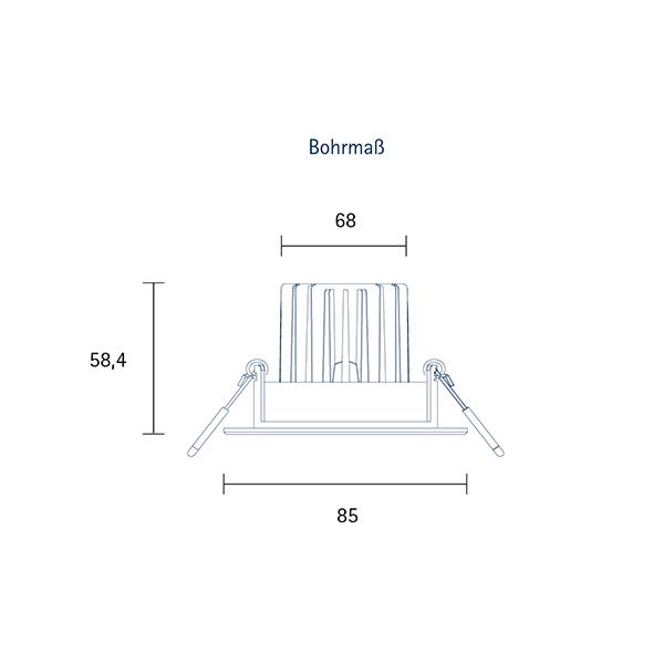 Einbauleuchte HALED 85mm alu gebürstet 10W 3000K IP20 36° 620lm Ra95 dim schwenkbar