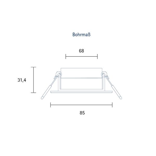 Einbauleuchte HALED 85mm alu gebürstet 6W 3000K IP20 36° 400lm Ra90 dtw schwenkbar