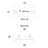 Vorschau: Einbauleuchte ARGENT FLAT 82mm alu gebürstet 7W 3000K IP20 36° 440lm Ra90 Dim schwenkbar