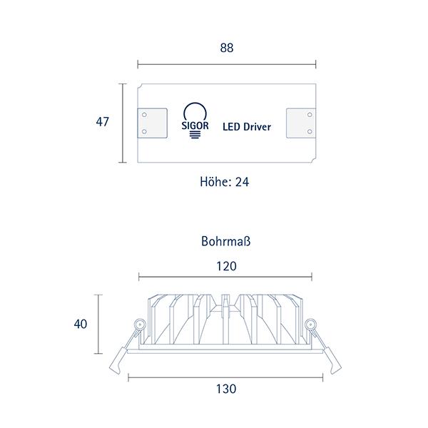 Einbauleuchte ARTEMI 130mm weiss 12W 3000-2100K IP20 70°/140° 450Lm Ra90 dtw