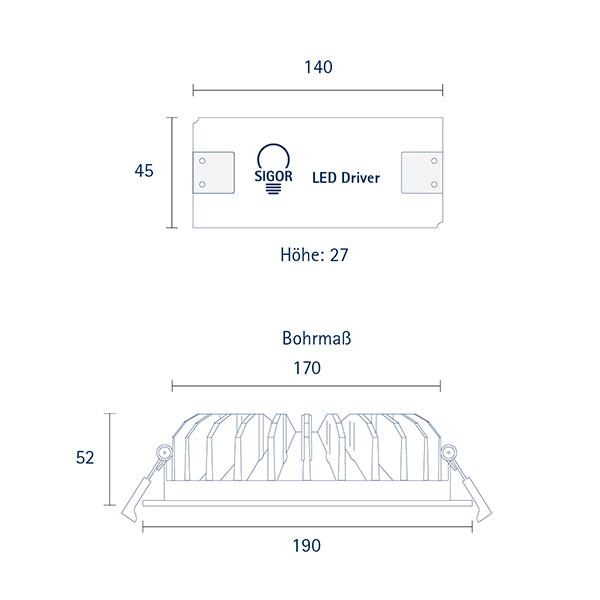 Einbauleuchte ARTEMI 190mm weiss 18W 4000-3000K IP20 70°/140° 850Lm Ra90 dtw