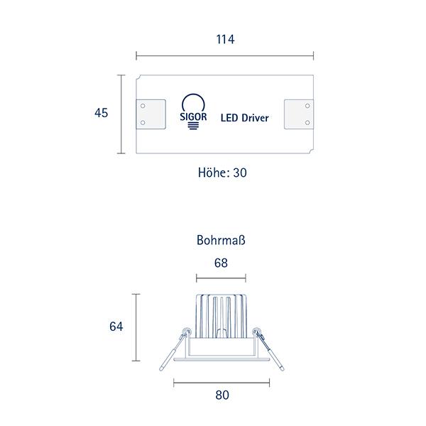 Einbauleuchte ARGENT 80mm weiss 9W 2700K IP44 36° 650lm Ra93 dim schwenkbar