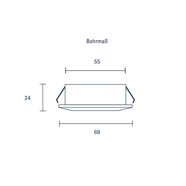 Einbauleuchte HALED 68mm alu gebürstet 4W 2700K IP20 36° 260lm Ra90