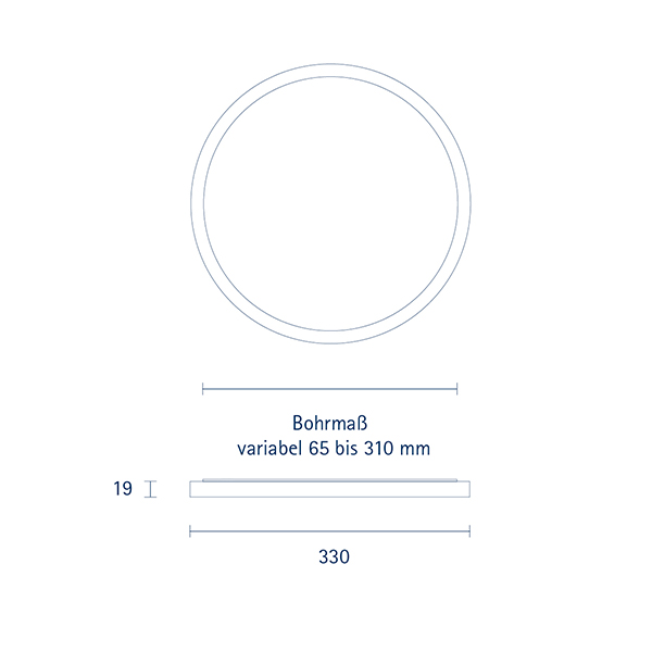 Aufbauleuchte FLED Downlight 330mm weiss 30W 3000/4000/5000K IP20 110° 2700-3000lm RA90