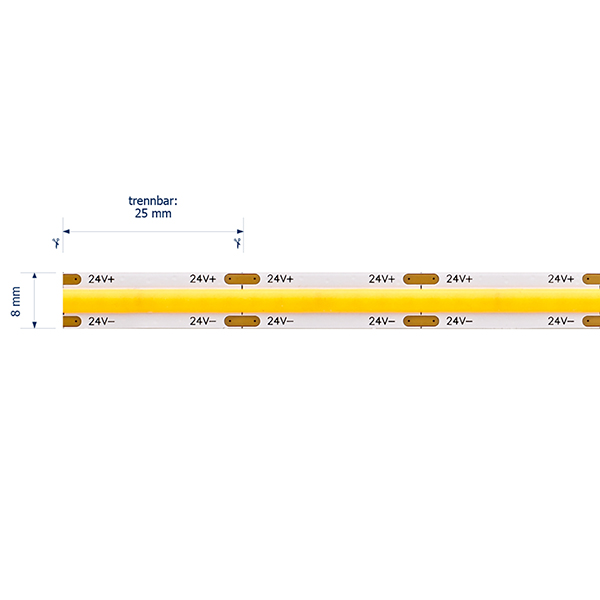 8W/m COB SHORT CUT LED-Streifen 3000K 5m IP20 24V 630lm RA90