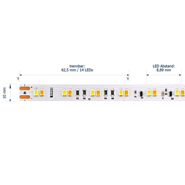 14,4W/m Dim to Warm LED Streifen 3500-2100K 5m 120 LED/m IP67 24V 1459lm RA80