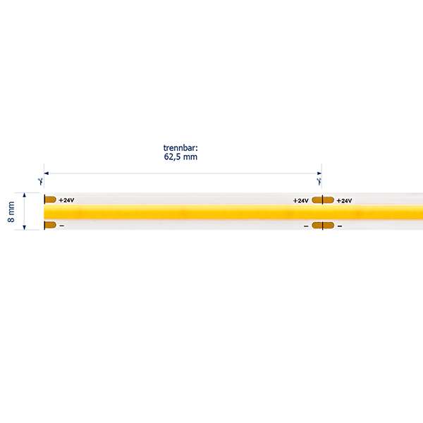 11W/m COB LED-Streifen 2700K 5m 512 LED/m IP20 24V 1080lm RA90