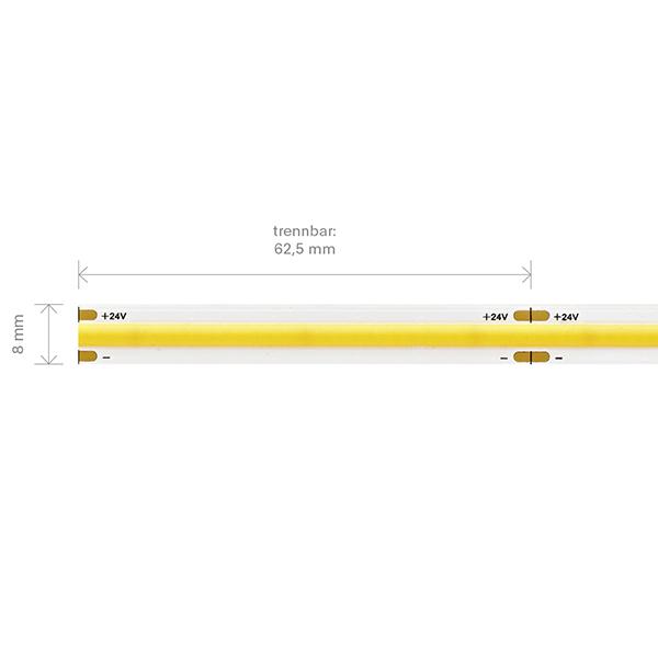 11W/m COB LED-Streifen 3000K 5m 512 LED/m IP20 24V 1080lm RA90