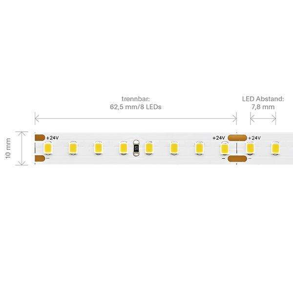 7,2W/m EXPERT Long Distance LED-Streifen 3000K 128 LED/m IP20 24V 886lm RA90 laufender Meter