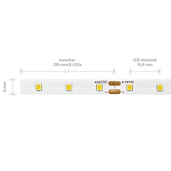 3,6W/m PRO LED-Streifen 3000K 5m 64 LED/m IP20 24V 473lm RA90