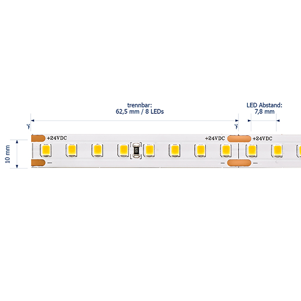 9,6W/m PRO LED-Streifen 2700K 5m 128 LED/m IP20 24V 1297lm RA90