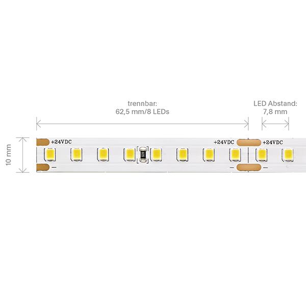 9,6W/m PRO LED-Streifen 3000K 5m 128 LED/m IP20 24V 1301lm RA90