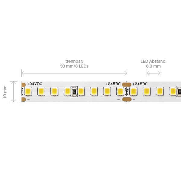 14,4W/m PRO LED-Streifen 3000K 5m 160 LED/m IP20 24V 1895lm RA90