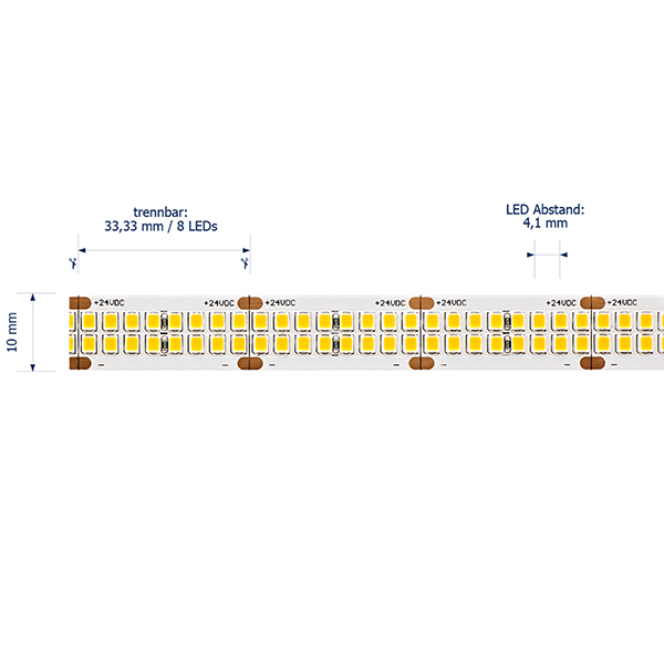 40W/m PRO LED-Streifen 3000K 5m 480 LED/m IP20 24V 5308lm RA90