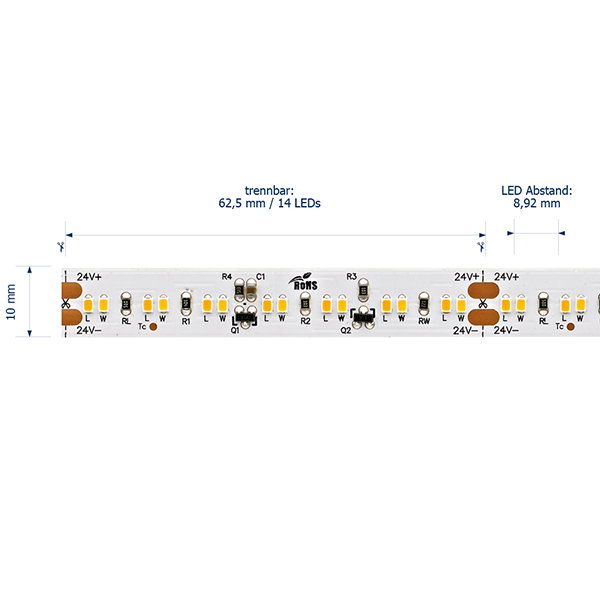 8,6W/m Dim to warm LED-Streifen 3000-2300K 5m 224 LED/m IP20 24V 570lm RA90