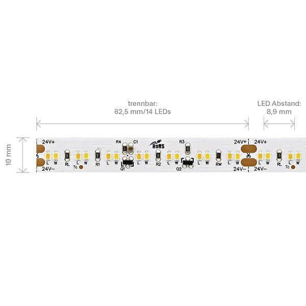 8,6W/m Dim to warm LED-Streifen 2700-2300K 5m 224 LED/m IP20 24V 570lm RA90