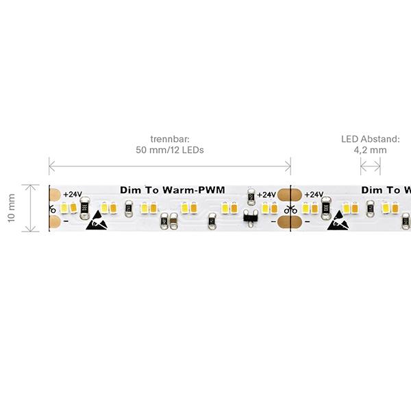 20W/m Dim to warm LED-Streifen 3000-1800K 5m 240 LED/m IP20 24V 1900lm RA90