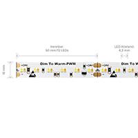 Vorschau: 20W/m Dim to warm LED-Streifen 3000-1800K 5m 240 LED/m IP20 24V 1900lm RA90