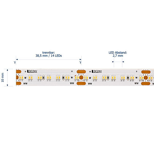 20W/m Tunable White LED-Streifen 5000-2700K 5m 364 LED/m IP20 24V 2119lm RA95
