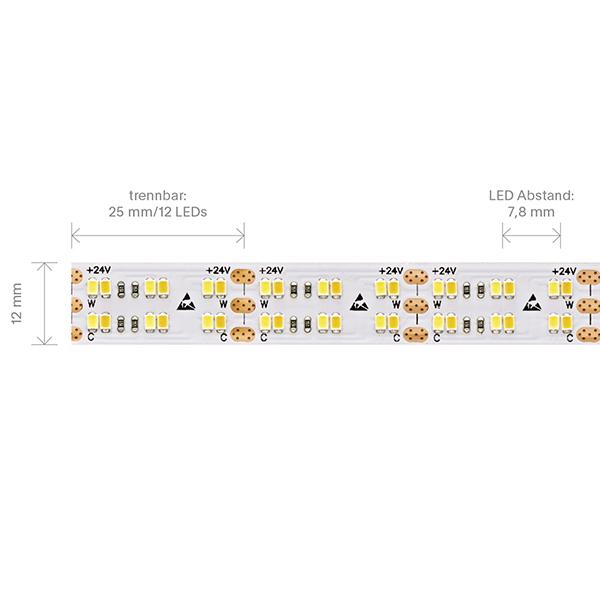 38,4W/m Tunable White LED-Streifen 4000-2100K 5m 480 LED/m IP20 24V 3200lm RA90