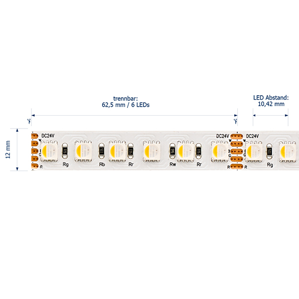 19,2W/m RGB/3000K LED-Streifen 5m 96 LED/m IP20 24V 1180lm RA80
