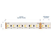 Vorschau: 19,2W/m RGB/3000K LED-Streifen 5m 96 LED/m IP20 24V 1180lm RA80