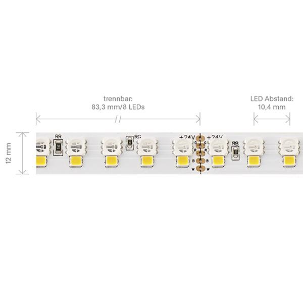 24W/m RGB+W LED-Streifen RGB/3000K 5m 192 LED/m IP20 24V 1853lm RA90