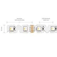 Vorschau: 14,4W/m RGB/W S-SHAPE LED-Streifen RGB/3000K 5m 48 LED/m IP20 24V 882lm RA80