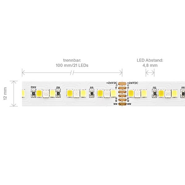 20W/m RGB/TW LED-Streifen RGB/2300+6500K 5m 210 LED/m IP20 24V 1662lm RA80 WH