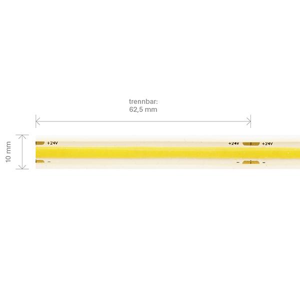 11W/m COB LED-Streifen 3000K 5m 512 LED/m IP67 24V 1084lm RA90