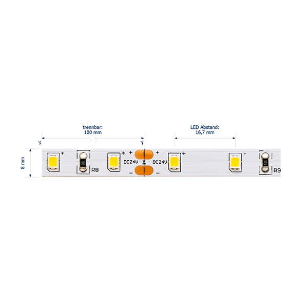 6W/M ESSENTIAL LED-Streifen 3000K IP20 5M 120° 570lm/m RA80 60LED/m dim