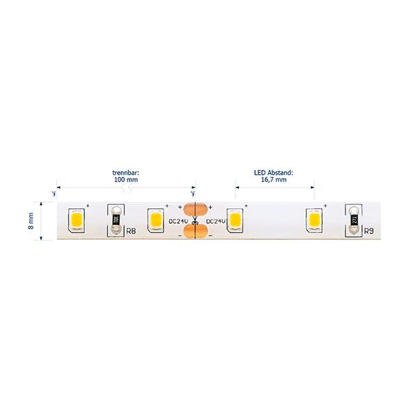 6W/M ESSENTIAL LED-Streifen 4000K IP54 5M 120° 516lm/m RA80 60LED/m dim