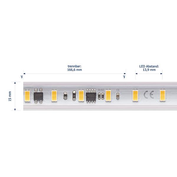 14W/m Hochvolt LED-Streifen 2700K 25m 72LED/m IP65 230V 1230lm/m Ra90