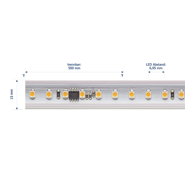 8W/m Hochvolt LED-Streifen 2700K 25m 120LED/m IP65 230V 560lm/m Ra90