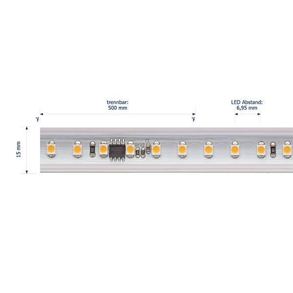 8W/m Hochvolt LED-Streifen 2700K 50m 120LED/m IP65 230V 560lm/m Ra90