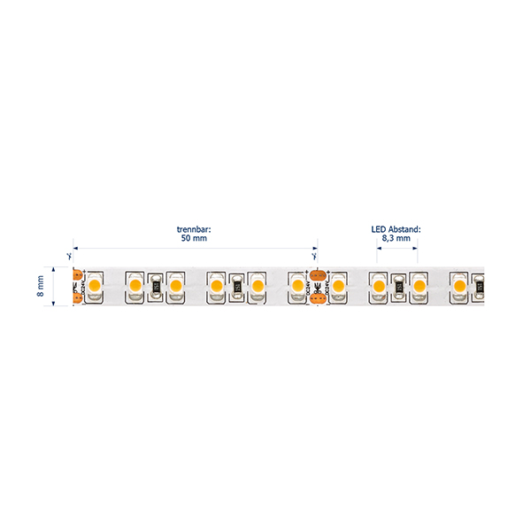 9,6W/m Pro LED-Streifen 2700K 1m 120LED/m IP20 24V 610lm/m RA90