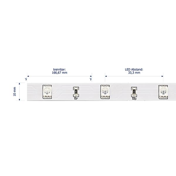 7,2W/m Farbige LED-Streifen RGB 5m 30LED/m IP20 24V 190lm/m RA95