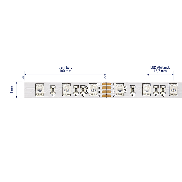 14,4W/m Farbige LED-Streifen RGB 5m 60LED/m IP20 24V 379lm/m RA95