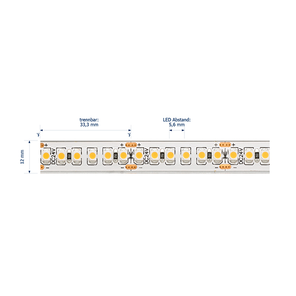 14,4W/m Pro LED-Streifen 4000K 5m 180LED/m IP68 24V 738lm/m RA95